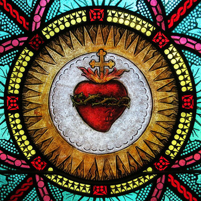 stained glass of the Sacred Heart of Jesus
